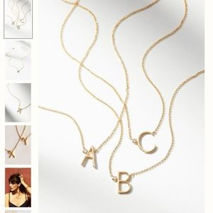 "NWT Anthropologie Gold Monogram Necklace ""S"""